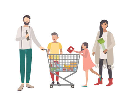 mujer en el supermercado: Concept for supermarket or shop. Happy family, people with shopping cart. Colorful flat vector illustration.