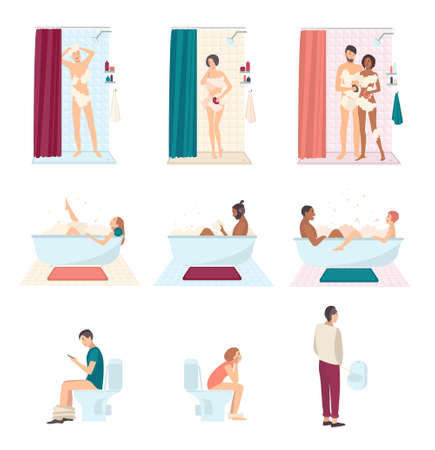 pissing: People in bathroom wash and using toilet, everyday hygiene. Couple take a shower, man pissing in a urinal, guy reading in the bath. Colorful flat illustrations set.