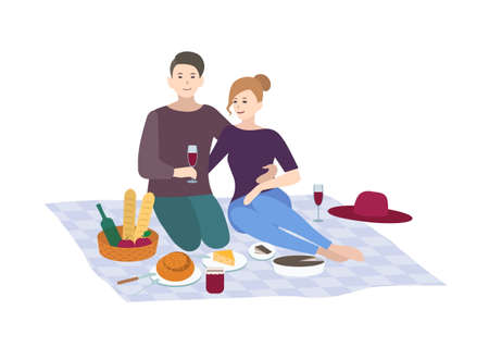 Picnic, vector illustration. Couple together outdoor relax. peop Vectores