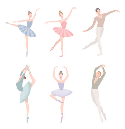 choreographic: Set of ballet dancer. Vector illustration in flat style. Girl and guy in tutu dress, different choreographic position collection.