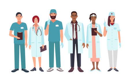 Set of doctors different specialization, nurse, surgeon, therapist, otorhinolaryngologist. Vector illustration characters in flat style. A group man and woman medical workers.