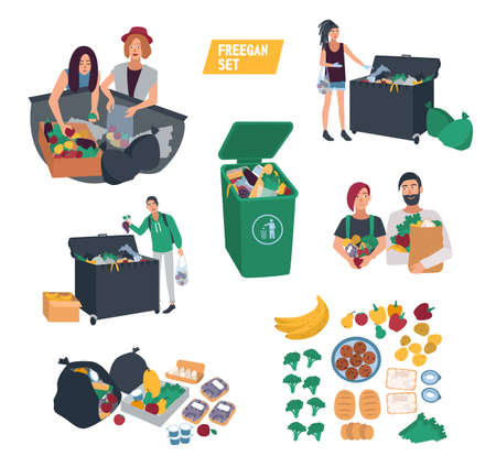 freeganism set. freegan people search food in dustbin, trash bin, garbage can. cartoon vector illustrations collection.