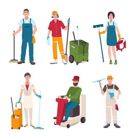 Set bidelli diversi. Le persone con le attrezzature per la pulizia lavavetri, pulitore, spazzano il pavimento. Uomo in lavatrice, donna con una scopa. Illustrazione vettoriale in stile piatto.