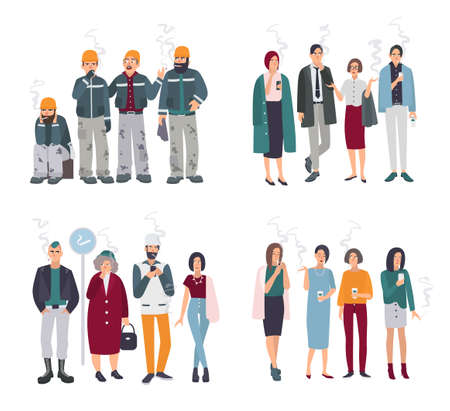 cigar smoking woman: Set of smoking room. Different people on smoke break. Man and woman with cigarettes collection. Vector illustration in flat style. Illustration