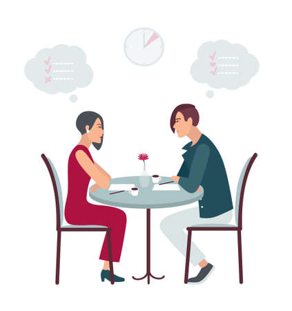 Speed dating, date at the cafe. Flat vector illustration.