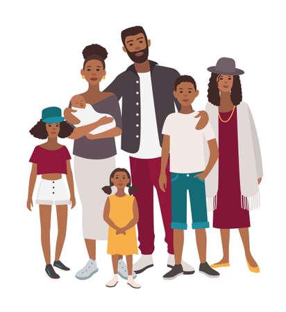 Retrato de familia grande. Madre africana, padre y cinco hijos. Gente feliz con parientes. Ilustración plana colorida.