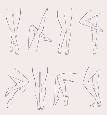Set of various female legs. Hand drawn outline woman foot in different poses. Black and white vector illustration collection.