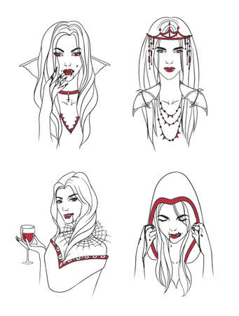 subculture: Vampire girl. Woman with fangs and blood. Collection stylish portrait halloween character. Hand drawn contour vector illustration.