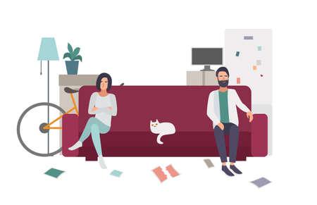 Divorcio, pelea familiar. Pareja en el sofá de alejarse el uno del otro. ilustración colorida plana.