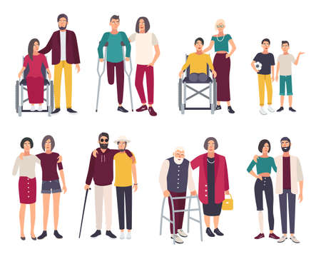 blind girl: Happy disabled people with friends. Cartoon flat illustrations set. Illustration