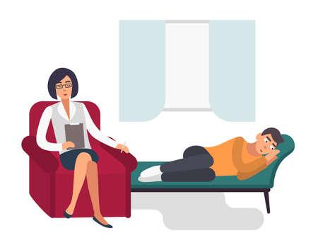 Concepto de psicoterapia. Paciente, hombre con un psicólogo. Ilustración plana colorida.