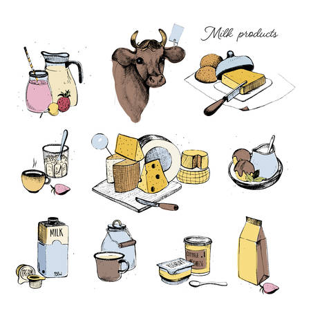 Dairy products hand drawn collection. Set milky farming assortment. Vector colorful illustration on white background.