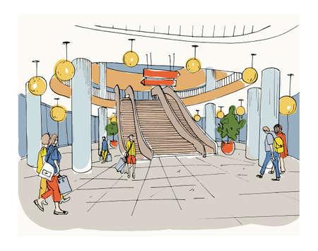 shopping center interior: Modern interior shopping center, mall. Colorful sketch illustration. Illustration