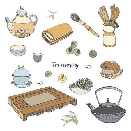 茶道、さまざまな伝統的なツールを設定します。Gaiwan、ボウル、ティーポット。カラフルな手描きのイラスト。  イラスト・ベクター素材