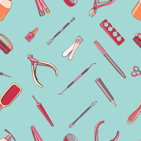scissors: Manicure equipment seamless pattern. Hand drawn contour background