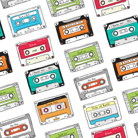A Seamless pattern, plastic cassette, audio tape with different music. Hand drawn colorful background, retro style.