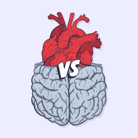 standoff: Heart vs brain. Concept of mind against love fight, difficult choice. Hand drawn vector illustration.