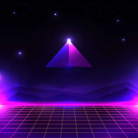 Retro futuristisch landschap, gloeiende cyberwereld met raster en piramide vorm. sci-fi achtergrond 80s-stijl.