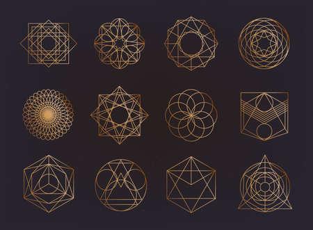 Collezione di simboli della geometria sacra. hipster, astratto, alchimia, spirituale, set di elementi mistici.