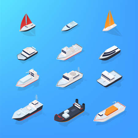 motorboat: Set of different ship, motorboat, sailing, yacht, passenger, merchant, vessel. Colorful isometric illustration collection.