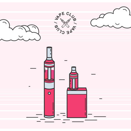 eliquid: Vape smoking device set. Illustration with e-cigarette and battery. Illustration
