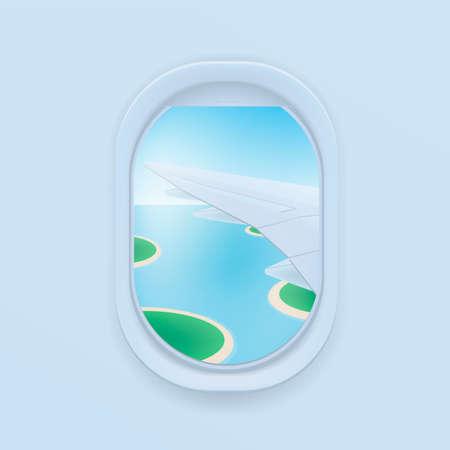 Flugzeugfenster. flache Abbildung der Karikatur. Bullauge, Blick auf den Flugzeugflügel.