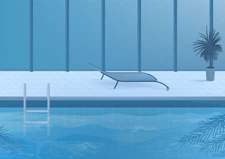Openbaar zwembad binnen binnenlandse illustratie.