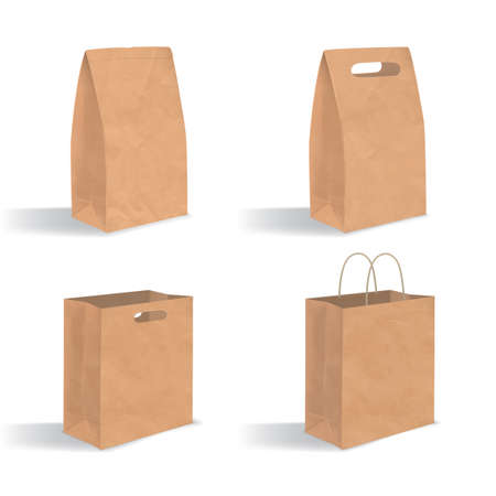 unprinted: Collection of empty brown paper bag with handles. Illustration