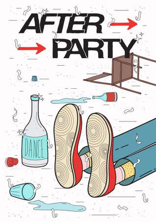 アフターパーティ プラカード。酔って、疲れた男、眠っている飲むの休んでいます。面白いパーティ告知ポスター。カラフルなイラスト。