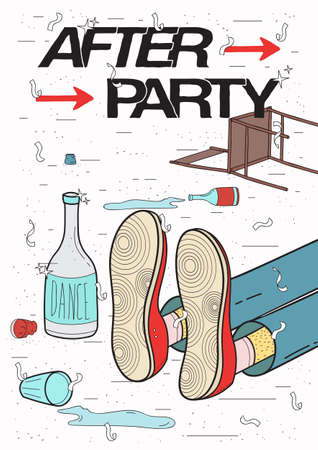 Afterparty placard. Drunk, tired guy asleep, resting of drinking. Funny party poster. Colorful Illustration. Ilustração