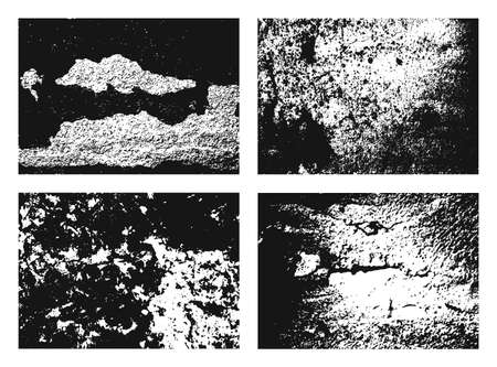 Grunge texture set, Collection of different black and white urban backdrop.