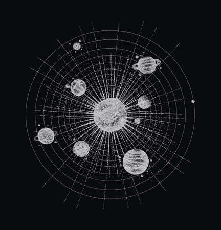 solar system in dotwork style. planets in orbit. vintage hand drawn illustration.
