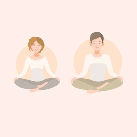 nirvana: Young woman and man couple meditating pose. Relaxation, isolated people illustration.