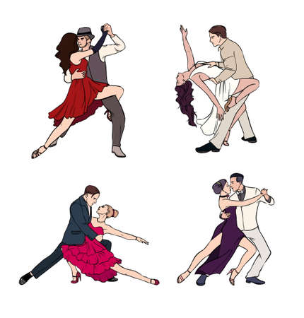 Set of a couple dancing argentine tango. Hand drawn colorful illustration. Illustration