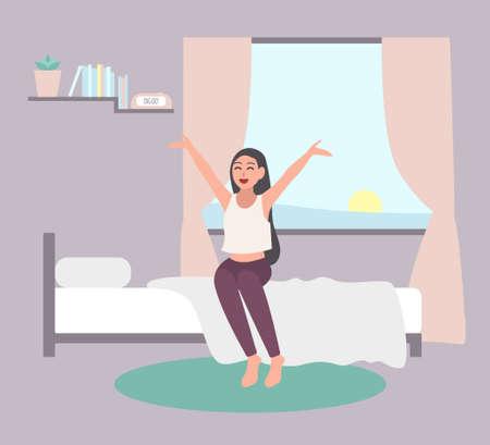 Svegliate il concetto precoce. Ragazza felice uscire dal letto in mattina. Vettoriali