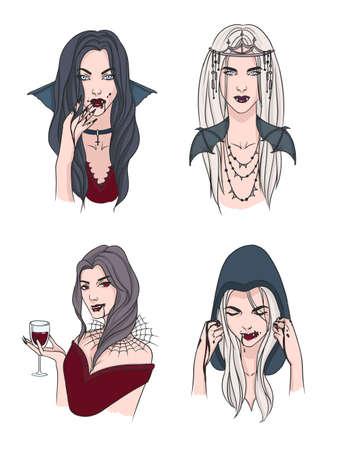 Chica Vampiro Mujer Con Colmillos Y Sangre Carácter