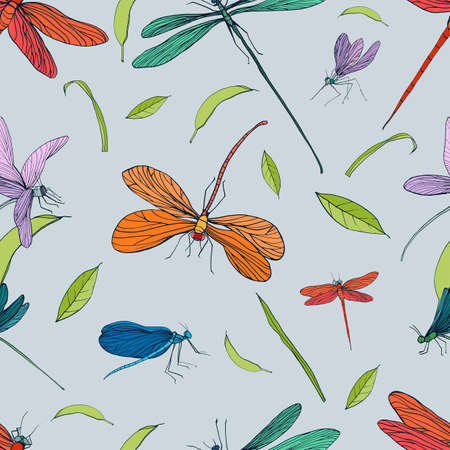 adder: Seamless pattern with different dragonfly. Hand drawn background with flying adder. Vector illustration