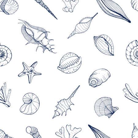 手貝殻で描かれたシームレス パターン。モノクロのベクトルの背景。 写真素材 - 76958975