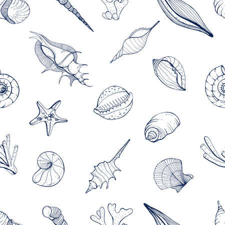 Hand drawn seamless pattern with seashells. Vector monochrome background.
