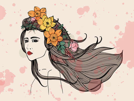 Fashion woman portrait with watercolor stains. Beautiful girl with flowers, flowing hair. Colorful hand drawn illustration.