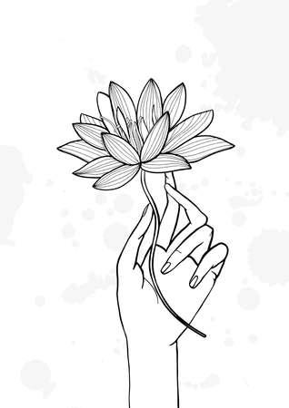 awaken: Hand holding lotus flower. Contour hand drawn illustration. yoga, meditation, awakening symbol. Illustration