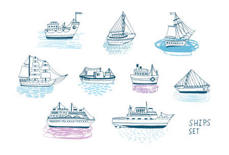 barque: Hand drawn doodle ships set. Colorful illustrations collection.