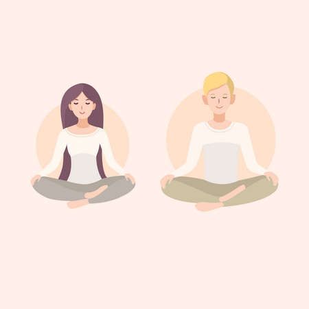 Young woman and man couple meditating in lotus pose. Relaxation, isolated people illustration.