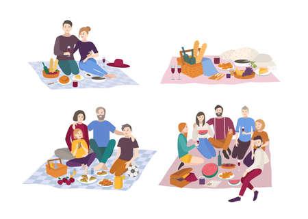pareja comiendo: Picnic in park, vector illustration set. Couple, friends, family, outdoors. Vectores