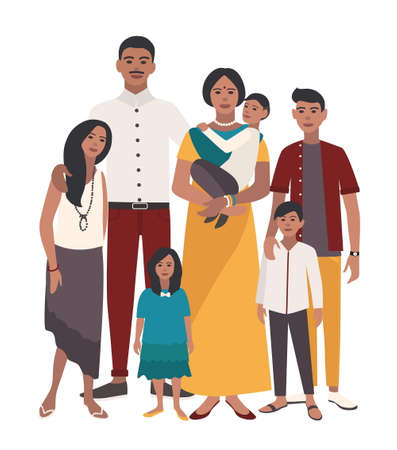 indian teenager: Large family portrait. Indian mother, father and five children. Happy people with relatives. Illustration