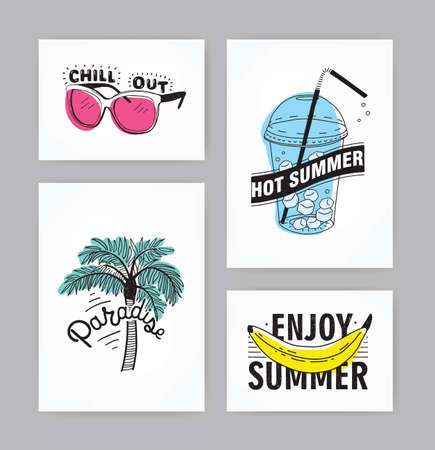 77ce76479e93 Set of hand drawn cards with lettering. inscriptions  Enjoy summer
