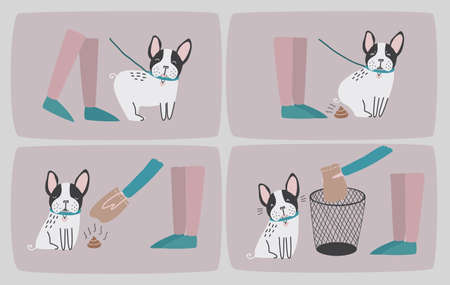 defecation: Clean after your dog. Set of consecutive cartoon images with puppy and his owner cleaning up him shit. Vector colorful illustration in flat style