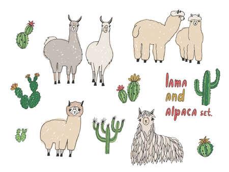 Cute Lama, Alpaca and cactuses set. Hand drawn vector illustration