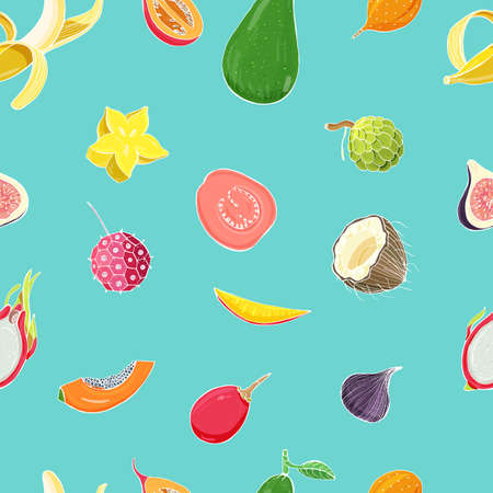 Seamless pattern with exotic tropical fruits. Colorful vector background.