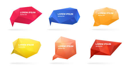 Abstract polygonal speech bubbles set. 3d figures with place for text. Colorful vector illustrations.